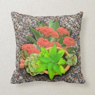 Flowering succulents throw pillow