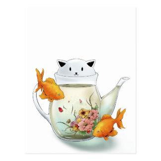 Flowering Tea in a Cat Teapot and Goldfish Postcard