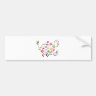 Flowering Tea Pot Illustration Drawing Bumper Sticker