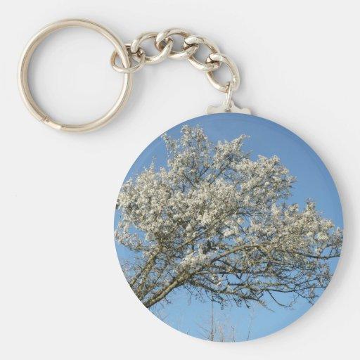 Flowering tree basic round button keychain