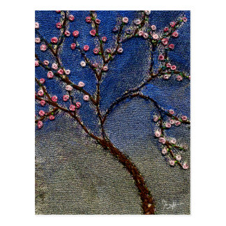 Flowering Tree - Stitched tree leaves and flowers Postcard