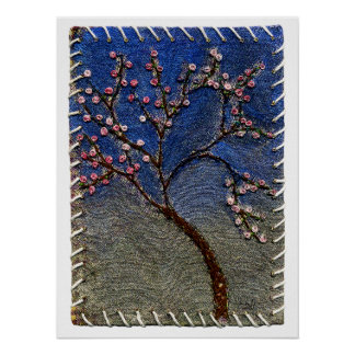 Flowering Tree - Stitched tree leaves and flowers Poster