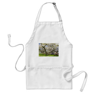 Flowering trees with white blossom in spring adult apron