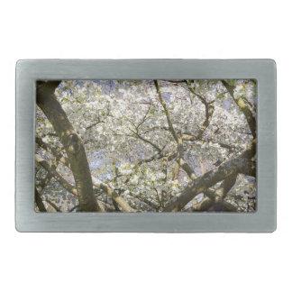 Flowering trees with white blossom in spring rectangular belt buckle