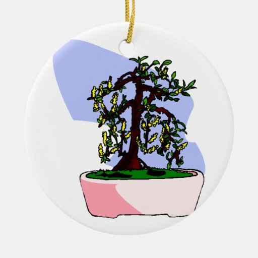 Flowering Upright Bonsai Yellow in pink pot Ornament