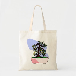 Flowering Upright Bonsai Yellow in pink pot Tote Bag