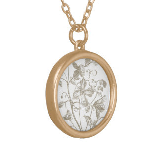 Flowering Vine Botanical Gold Tone Neacklace Gold Plated Necklace