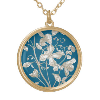 Flowering Vine Botanical Round Pendant Necklace