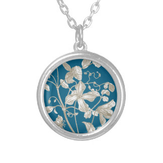 Flowering Vine Botanical Silver Plated Neaklace Round Pendant Necklace