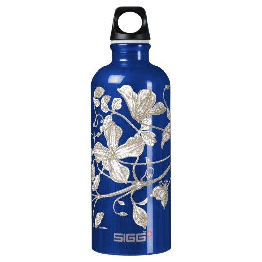 Flowering Vine Botanical Water Bottle, Blue Aluminum Water Bottle