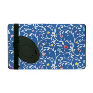 Flowering Vines Modern Floral Pattern Blue iPad Folio Case