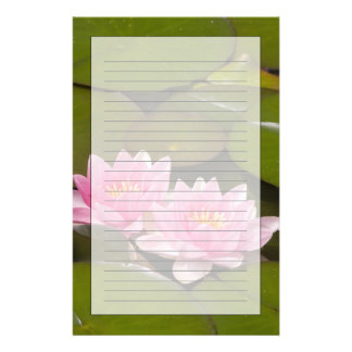 Flowering water lilies stationery
