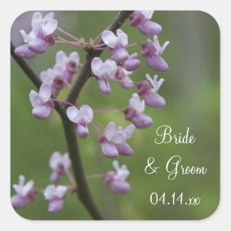 Flowering Wedding Tree Envelope Seals Square Sticker