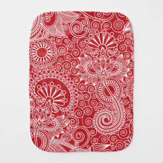 FlowerJungle in Red and White Burp Cloth