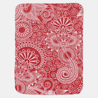 FlowerJungle in Red and White Stroller Blanket