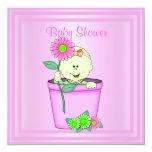 "FLOWERPOT PINK BABY SHOWER INVITATION 5.25"" SQUARE INVITATION CARD"