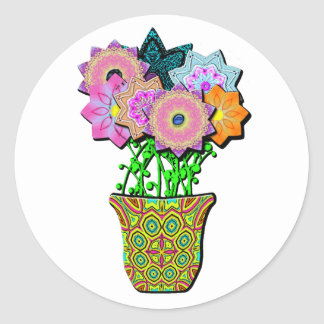 flowerpot classic round sticker