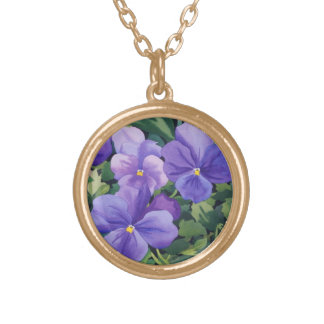 Flowerpots with Pansies 2007 Gold Plated Necklace