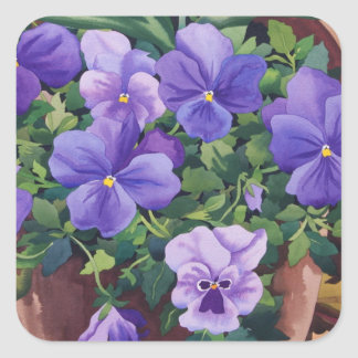 Flowerpots with Pansies 2007 Square Sticker