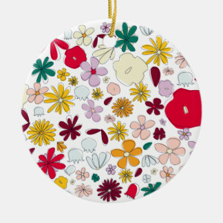FLOWERPOWER TURQUOISE WHITE CERAMIC ORNAMENT