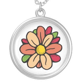 FlowerRound3 Round Pendant Necklace