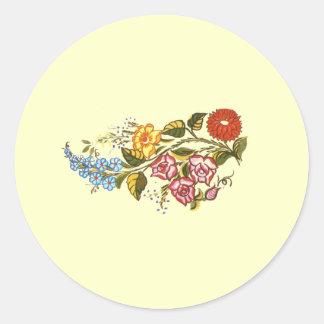 flowers1 horizontal pegatinas redondas
