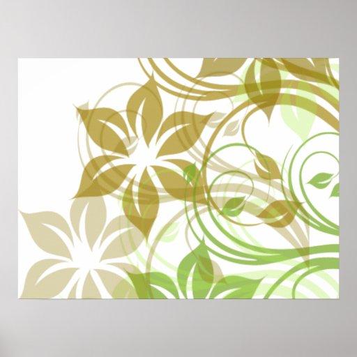 Flowers1 verde y beige cepillado impresiones