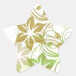 Flowers1 verde y beige cepillado calcomanías forma de estrellaes personalizadas