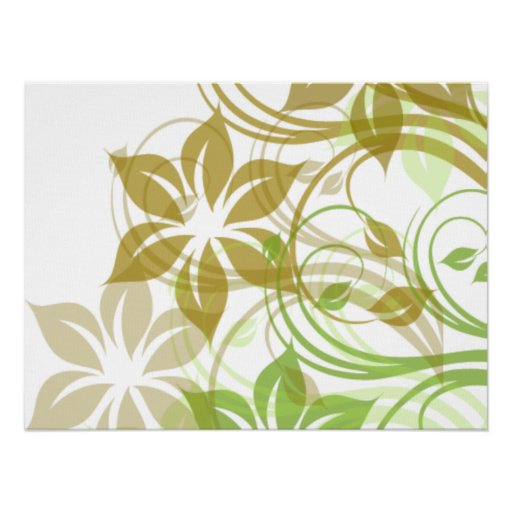 Flowers1 verde y beige cepillado póster