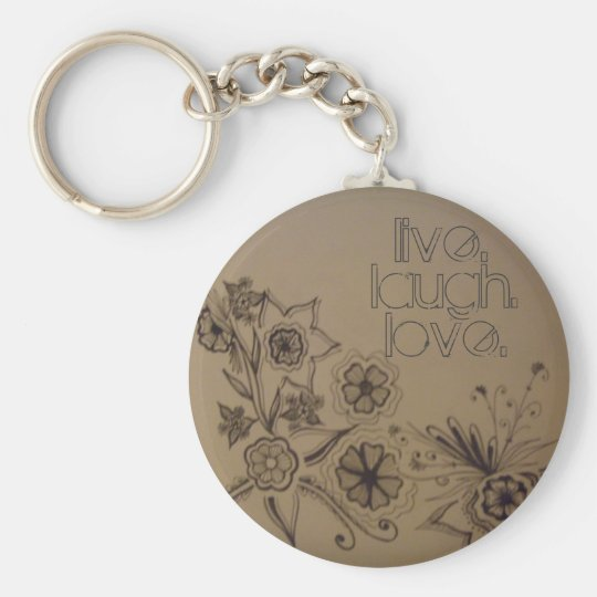 flowers 007, live., laugh., love. - Customized Keychain