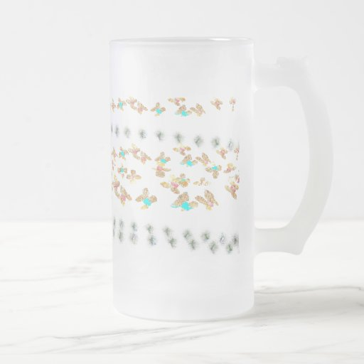 Flowers 16 Oz Frosted Glass Beer Mug