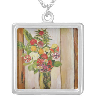 Flowers, 1929 silver plated necklace