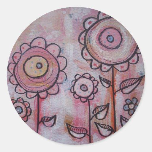 flowers 1 classic round sticker