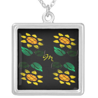 Flowers 2 Stained Glass - Monogram Square Necklace