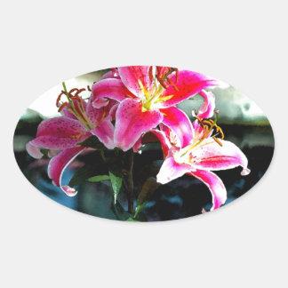 Flowers 349 oval sticker
