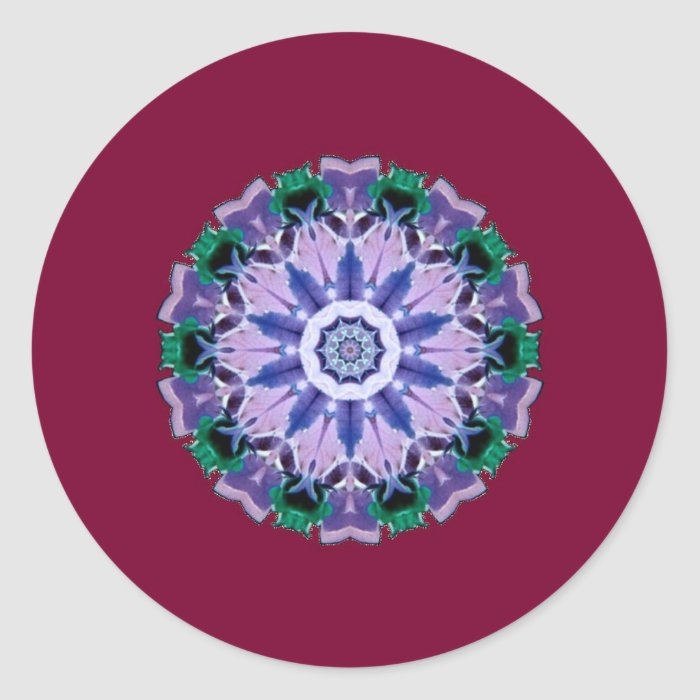 flowers 8d classic round sticker