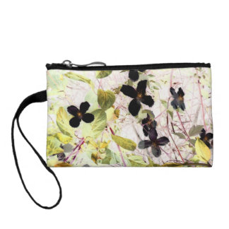 flowers abstract 55 key coin clutch wristlet