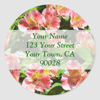 flowers address labels classic round sticker