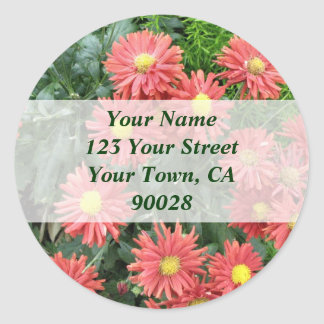 flowers address labels round stickers