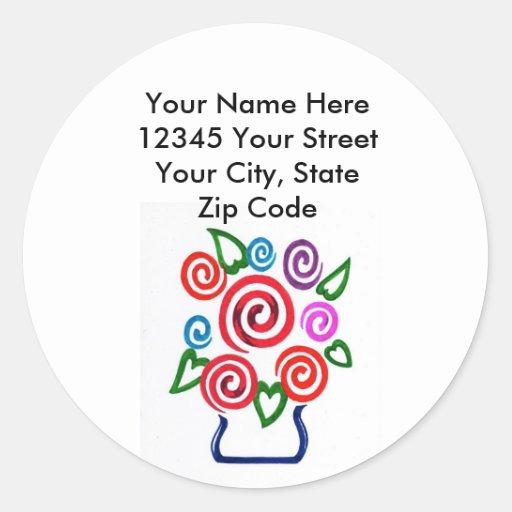 Flowers: Address Labels Round Stickers