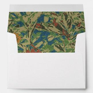 Flowers against leaf camouflage pattern envelope