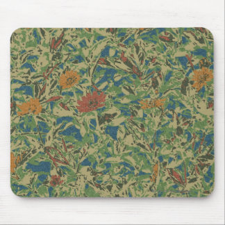 Flowers against leaf camouflage pattern mouse pad
