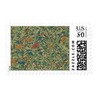 Flowers against leaf camouflage pattern postage