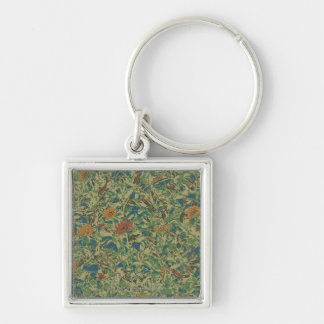 Flowers against leaf camouflage pattern Silver-Colored square keychain