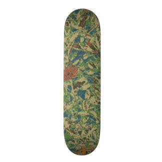 Flowers against leaf camouflage pattern skateboard deck