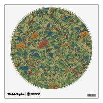 Flowers against leaf camouflage pattern wall sticker