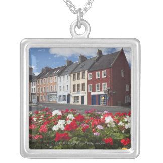 Flowers Along A Street In A Residential Area Silver Plated Necklace