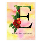 Flowers Alphabet with Watercolor Background Postcard