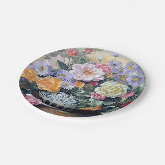 Flowers Ancient Vase Paper Plate