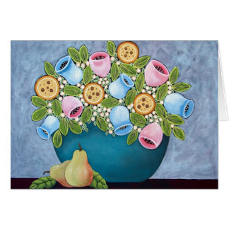 Flowers and a Couple of Pears Card